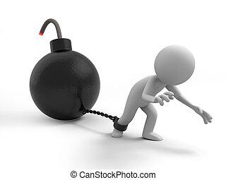 The prisoner, burden - A people dragging a heavy bomb