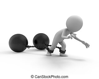 A people dragging two heavy metal balls