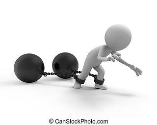 The prisoner, burden - A people dragging two heavy metal ...