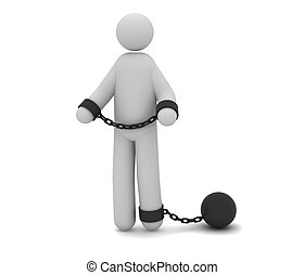 The prisoner - Man arrested with prison ball and chain