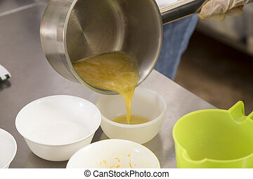 The process of making jelly from natural fruits.