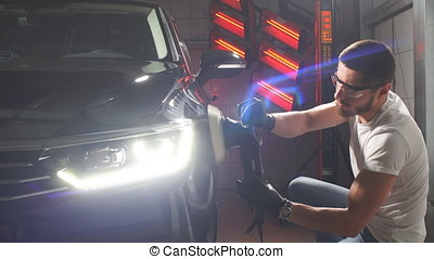 The process of polishing car body. - The process of...