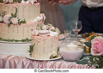 The process of serving guests cake at the wedding 9686.