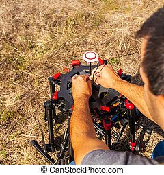 The process of setting up a copter before flight.