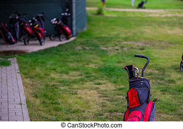 The Professional Golf Bag with a Set of Golf Clubs