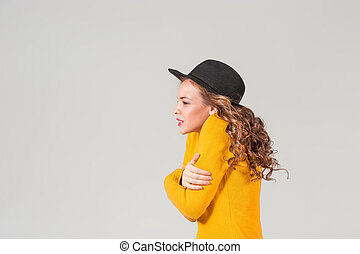 The profile of girl in hat