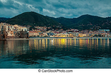small town Cefalu at dusk
