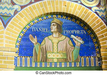 Fresco of the prophet Daniel in church