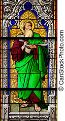 Church window in the Dom of Cologne, Germany, depicting the prophet Ezekiel. The window, made in the Royal Glass Painting Manufactory in Munich, was installed in 1847.