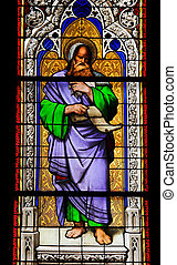 Church window in the Dom of Cologne, Germany, depicting the prophet Isaiah. The window, made in the Royal Glass Painting Manufactory in Munich, was installed in 1847.