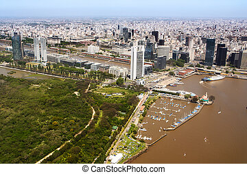 The Puerto Madero neighborhood of Buenos Aires view from aerial (Argentina)
