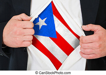 The Puerto Rico flag painted on the chest of a man