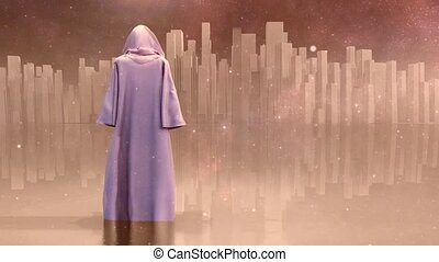 The pure city - Robed Traveler before the pure city