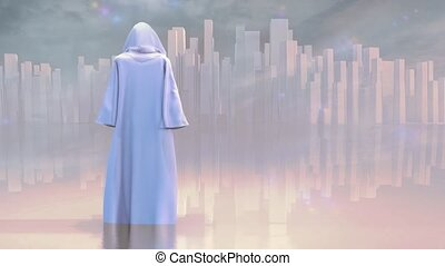 Robed traveler or monk before the pure city
