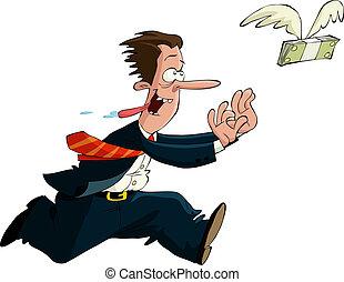 The pursuit of money - A man runs after money, vector...