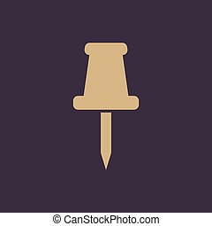 The push pin icon. Memo and note, attachment symbol. Flat Vector illustration