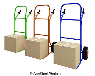 The pushcarts - The colored pushcarts with big cardboard ...