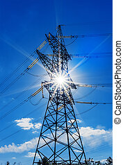 the pylons of a power line with sun and blue sky.