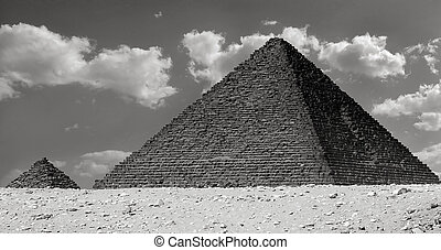 The Pyramid of Menkaure and Queen Pyramid in Giza, Egypt...