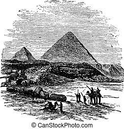 The Pyramids of Giza, vintage engraving.