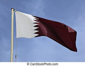 The Qatari national flag