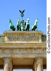 Brandenburg gate, Berlin - The Quadriga on top of the...
