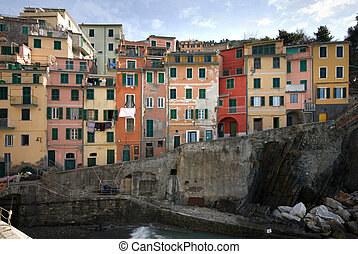 Riomaggiore, Cinque Terre, Italy - The quaint, picturesque...