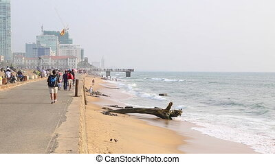 the quay of the Colombo city with ocean