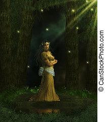 The Queen - Elvian queen standing in the enchanted forest