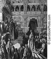 The Queen of Sheba visiting Solomon
