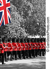 London, UK - June 17, 2006: Queen's soldiers marching at Trooping the Colour ceremony, also known as the Queen's Birthday Parade