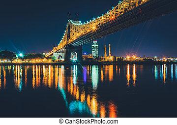 The Queensboro Bridge at night, seen from Roosevelt Island, New