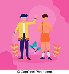 man waving hands queer community lgbtq vector illustration