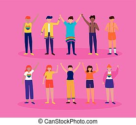 people group celebration queer community lgbtq vector illustration