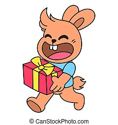 the rabbit brings a birthday present doodle kawaii. doodle icon image