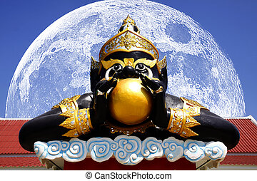The Rahu Statue and The Big Moon is back side at Saman Rattana Ram Temple Thailand.