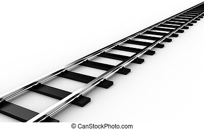 The railroad - The railway for a train on a white background