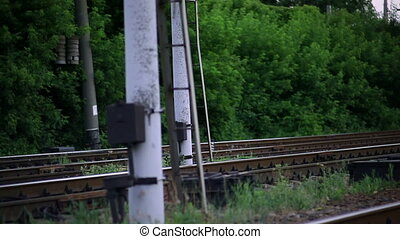 The Railroad Tracks with Pillars. Horizontal Panorama