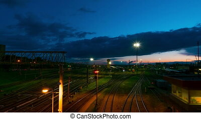 The railway station at night, time-lapse
