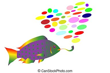 The rainbow fish in rasta style smokes a pipe and exhales smoke in the form of a heart from multi-colored balls. Vector illustration. Isolated on white background.