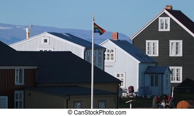 The rainbow flag hangs on the flagstaff. Andreev. - The...