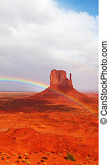 The rainbow  in reservation of Indians Navajo