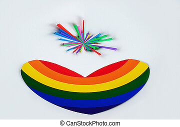 rainbow lgbt heart on a white background, gay parade online