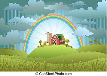 The rainbow protects the small farm