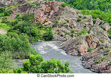 The rapids on a small river in Ukraine