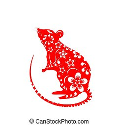 The rat is a symbol of the Chinese New Year 2020. Red decorated with patterns and flowers. illustration