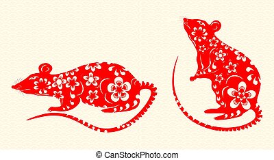The rat is a symbol of the Chinese New Year 2020. Red is decorated with patterns and flowers on a background of rice paper. illustration