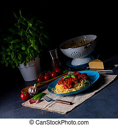 The real Bolognese sauce with spaghetti noodle
