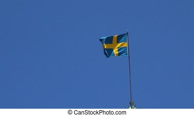 The real flag of Sweden develops in the air, raised up