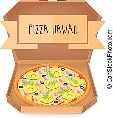 The real Pizza Hawaii. Italian pizza in box.